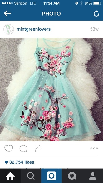 dress blue cherry blossom dress
