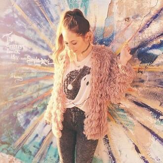 cardigan fringes jacket classy grunge jeans shirt