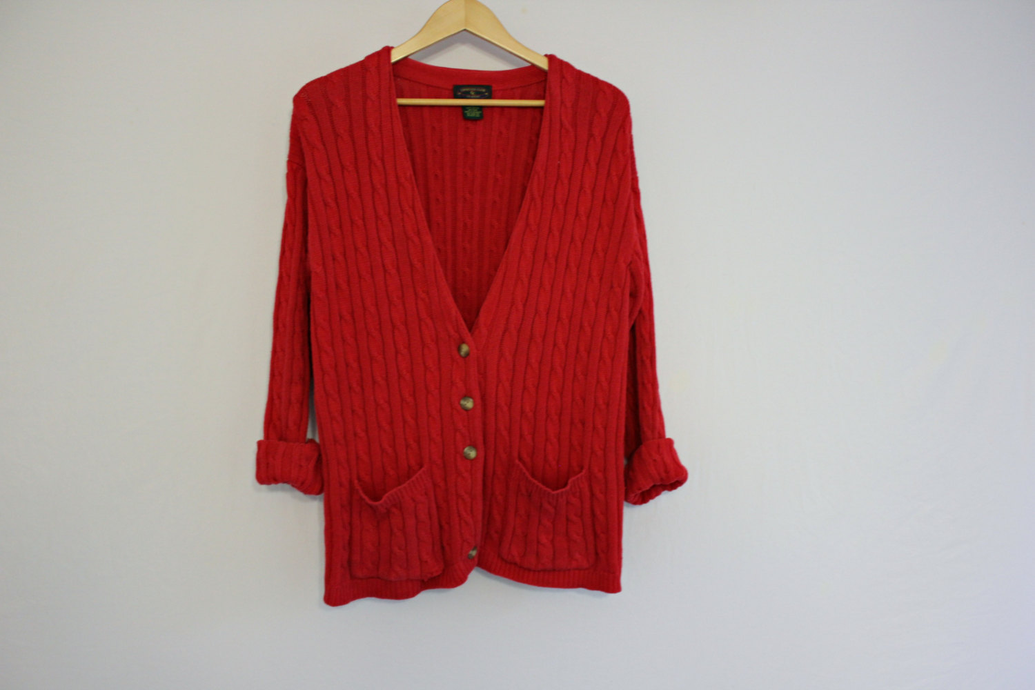 Vintage / red cardigan / cable knit cardigan / size small