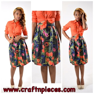 skirt flowers flowerskirt preppy orange bottoms