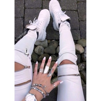 tights pants white zip jeans zips