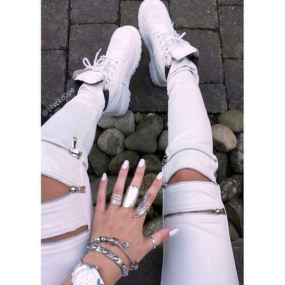 white zipper pants tights