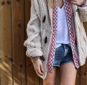 cardigan,denim,boho,watch,gold,knitted cardigan,knitwear,beige,wool,shorts,denim shorts,boho chic,gold watch,outfit,jumpsuit,sweater