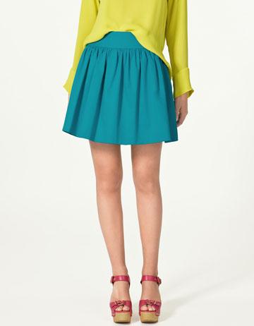 Wide waist mini skirt