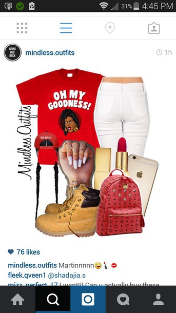 shirt red lipstick skinnyjeans iphone 6 case timberlands boots nail polish mcm bag