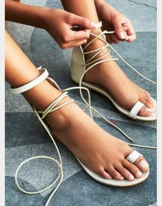 shoes trendy summer instagram fashion nude lace up sandals flat sandals fashionista brand summer shoes style cute