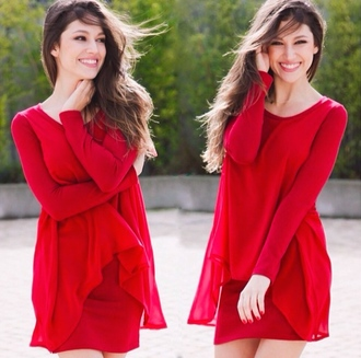 dress red ursula corberó❤️ red dress short dress long sleeve dress long sleeves valentines day feminine