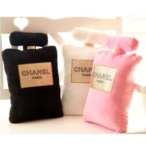 Black Chanel Throw Pillow : Home accessory: chanel inspired, pillow, home decor, perfume bottle, decorative cushions ...