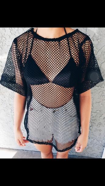blouse top mesh swimwear mesh shirt