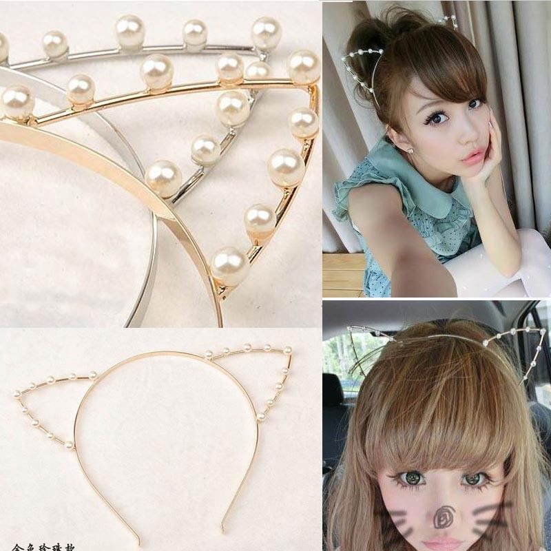 Women's Accessory Cute Cosplay Punk Party Cat Ear Pearls Gold Hair Cuff Headband | eBay