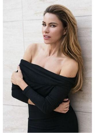 dress black dress little black dress bodycon dress off the shoulder sofia vergara editorial