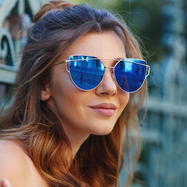 f3c3dbb22de Oversize Thin Cross Brow Mirrored Flat Lens Sunglasses
