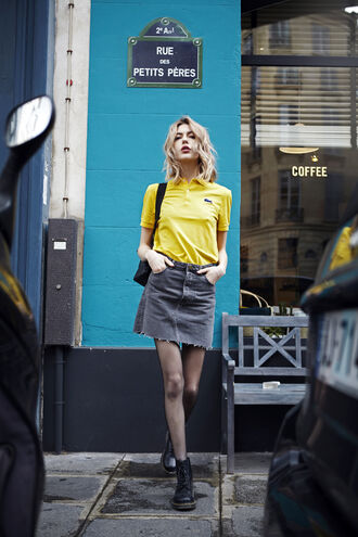 t-shirt skirt tumblr yellow mini skirt denim denim skirt fishnet tights boots black boots tights shoes