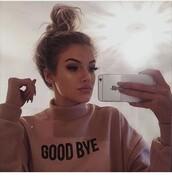 sweater,shirt,sweatshirt,pink,black,goodbye,turtle neck long sleeve,pastel,instagram,oversized sweater,beige sweater