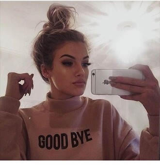 sweater shirt sweatshirt pink black goodbye turtle neck long sleeve pastel instagram oversized sweater beige sweater