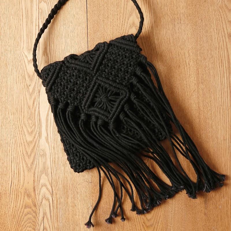 Black Fringe Bag Vintage Knitting Crossbody Bag | Baginning