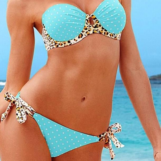 swimwear light blue leopard print