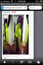 dress,neon green,prom,prom dress,llong dress,cut open dress,sexy dress,formal