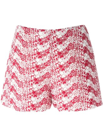 shorts embroidered floral red