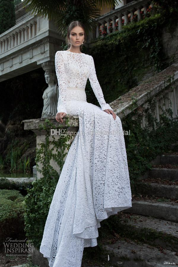 Wholesale Mermaid Wedding Dresses - Buy 2014 Fascinating White Lace Mermaid Wedding Dresses Bateau Neck Long Sleeves Backless Sexy Vintage Court Train Lace Bridal Gowns, $144.51 | DHgate
