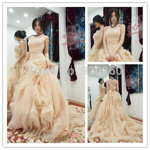 Aliexpress.com : buy elegant ruffle champagne wedding dresses organza bride dresses 2014 women bridal gowns with train from reliable gown sample suppliers on the beautiful princess wedding dresses
