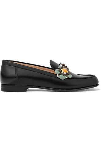 loafers floral leather black shoes