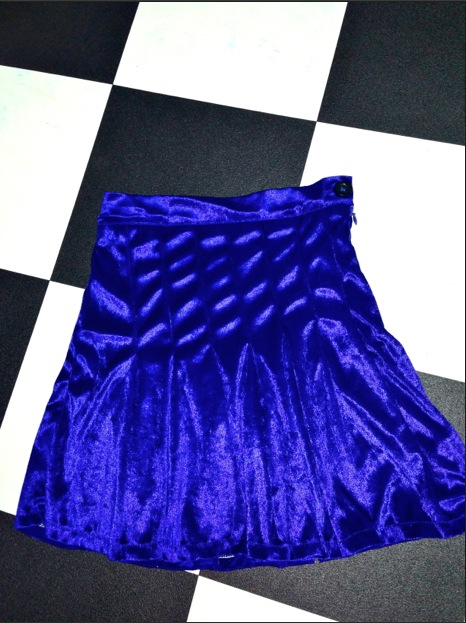 Sweet lord o'mighty! velvet tennis skirt in royal