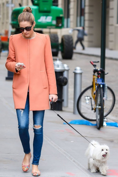 jeans olivia palermo damaged jeans blue dark blue dark blue jeans girl fashion olivia palermo coat orange coat peach coat lovely