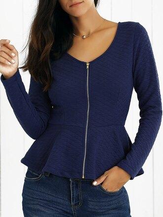 blouse long sleeves peplum peplum top blue navy navy tops zip