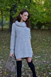 my silk fairytale,blogger,bag,jewels,grey,earrings,turtleneck,knitwear,sweater dress