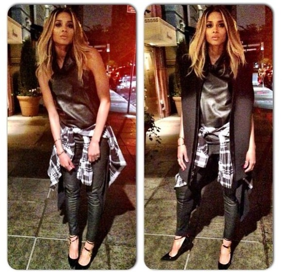 shirt plaid shirt black tank top jacket dress leather waistcoat black leather pants vest ciara high neckline