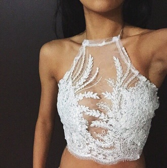 crop tops white top lace top see through white lace top halter top mesh top halter crop top summer top lace lace lingerie boho top lace see through halter neck crop tank top sheer lace up pretty beautiful spring summer floral shirt white white lace blouse black t-shirt lace crop top