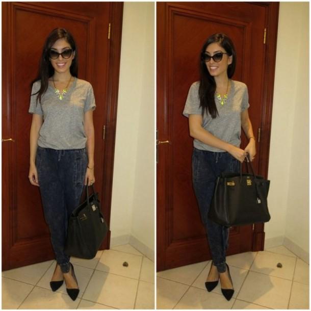 my fash diary pants t-shirt jewels sunglasses bag