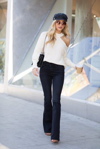hat tumblr fisherman cap sweater one shoulder white sweater denim jeans flare jeans round sunglasses sunglasses