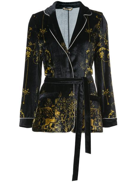 Alberta Ferretti jacket women blue silk velvet