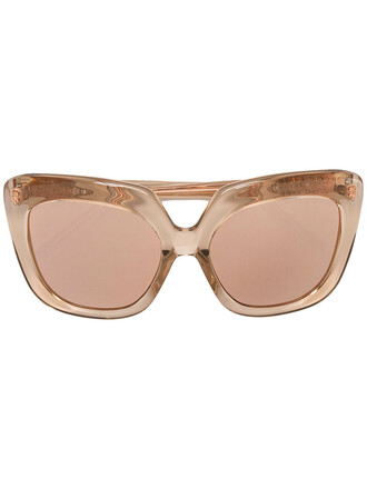 women plastic sunglasses gold nude