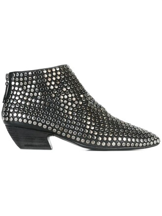 studded boots black shoes