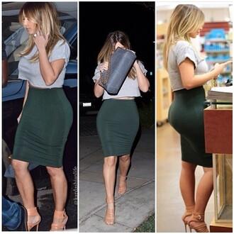 skirt green dark green high waisted skirt kim kardashian pencil skirt