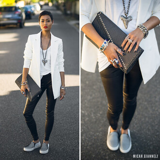 jacket white white jacket large necklace bracelets ring white shirt
