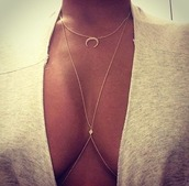 jewels,necklace,half moon,moon necklace,moon,diamons,collar,chain,chain necklace,body chain,cresent moon,jewelry,shirt,summer accessories