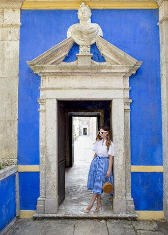 skirt midi skirt striped skirt shirt basket bag pumps blogger blogger style handbag