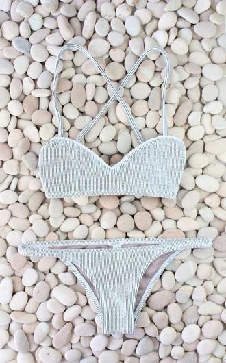 swimwear stripes black white bikini