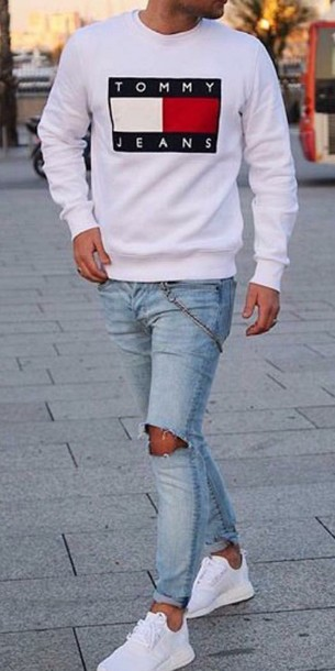 4238fb1a sweater, white, tommy hilfiger, menswear, mens t-shirt, mens sweater ...