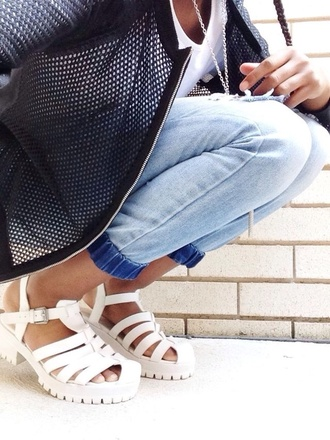 jacket pants net jellies beach shoes mid heel sandals white sandals shoes jeans denim bomber jacket sandals indie mesh