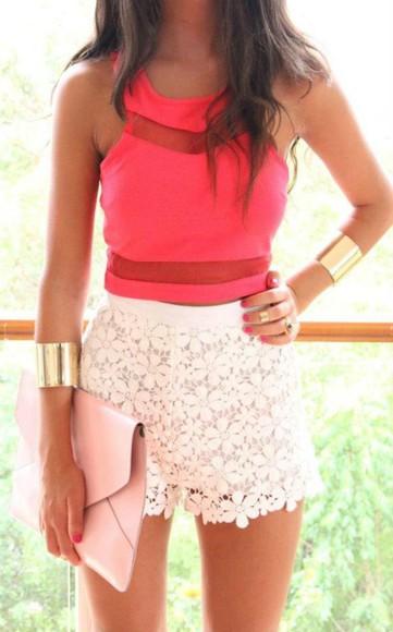 shorts floral floral shorts cute pink top clutch crop tops bracelets envelope clutch gold jewelry bag jewels
