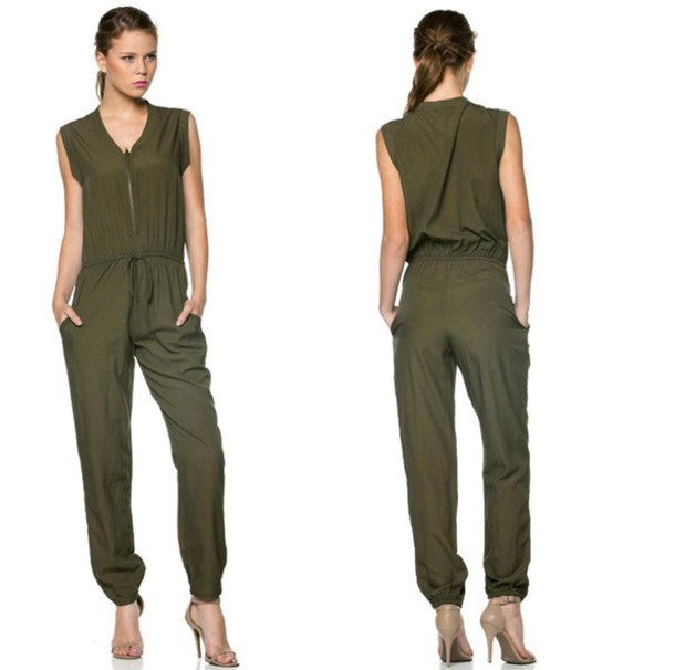 Jumpsuit: olive green, sleeveless, drawstring, zip, junior, army ...