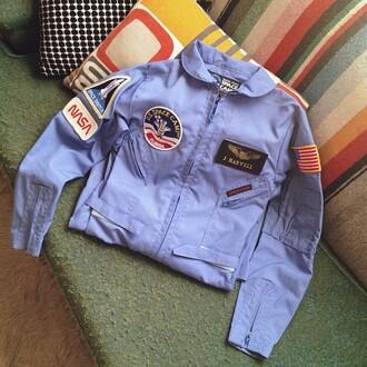 jacket nasa blue coat vintage blue blue jacket patch us flag