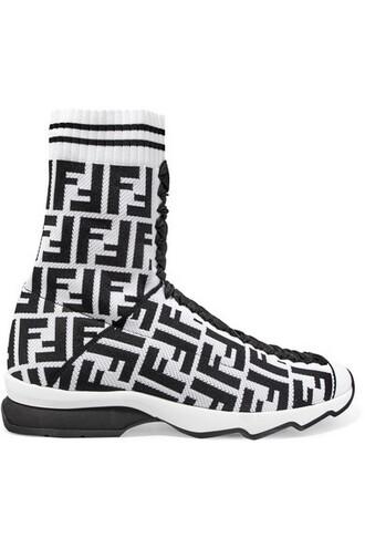 mesh jacquard sneakers white knit shoes