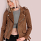 Faux suede biker jacket brown -shein(sheinside)