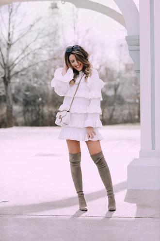 stephanie sterjovski - life + style blogger dress shoes bag sunglasses ruffle dress gucci bag thigh high boots boots